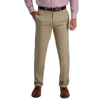 Haggar  Iron Free Premium Khaki Straight Fit Flat Front Pants, 32 30, White