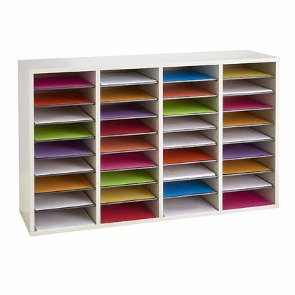 Safco® Organisateur de documentation réglable en bois à 36 compartiments - Gris (9424GR)