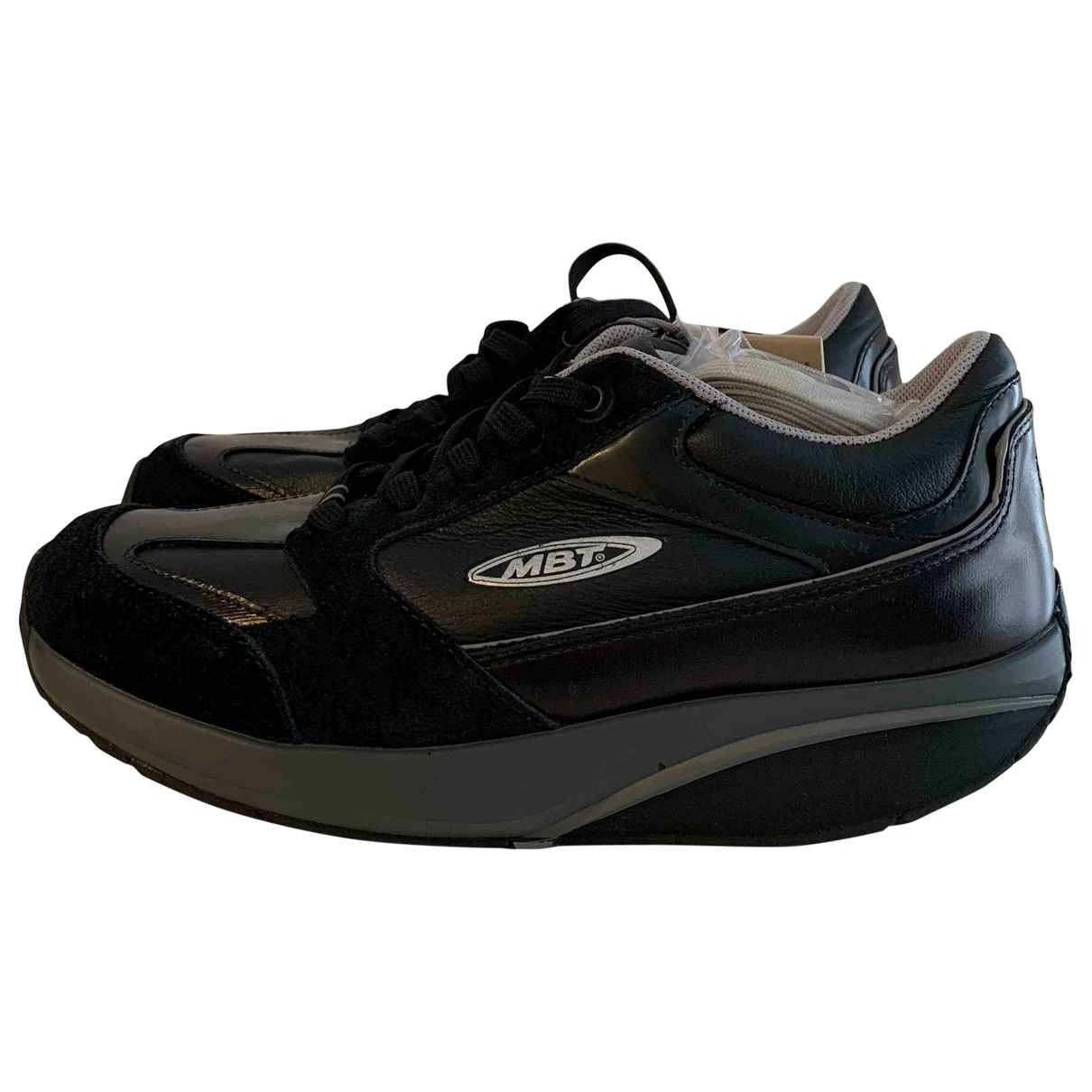Non Signé / Unsigned \N Black Leather Trainers for Women 38 EU