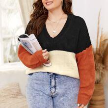 Pullover mit V-Kragen und Farbblock