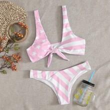 Bikini Badeanzug mit Stern & Streifen Muster und Knoten vorn