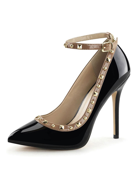 Milanoo Women's High Heels Slip-On Pointed Toe Rose Stiletto Heel Sequins Ankle Strap Sexy Vintage Pumps