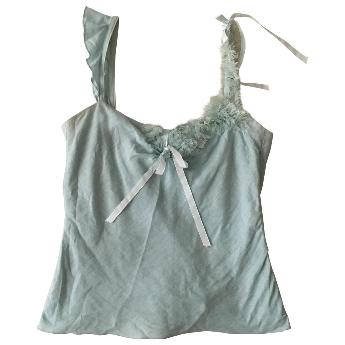 Tara Jarmon - Top   pour femme en lin - turquoise