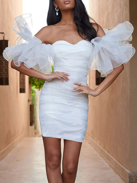 Milanoo White Sweetheart Organza Ruffle Sleeve Mini Dress