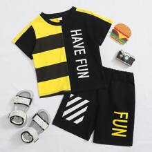 Toddler Boys Slogan Graphic Spliced Tee With Track Shorts
