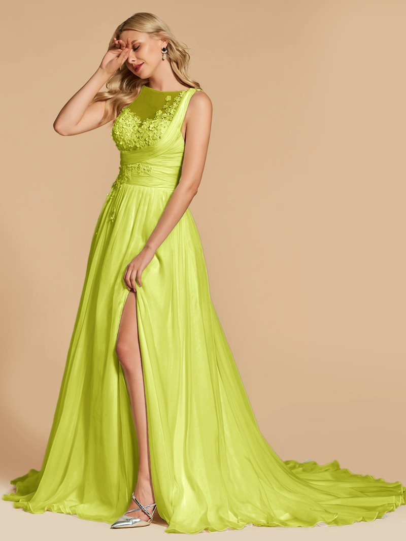 Ericdress A Line Applique Pleats Long Evening Dress With Train