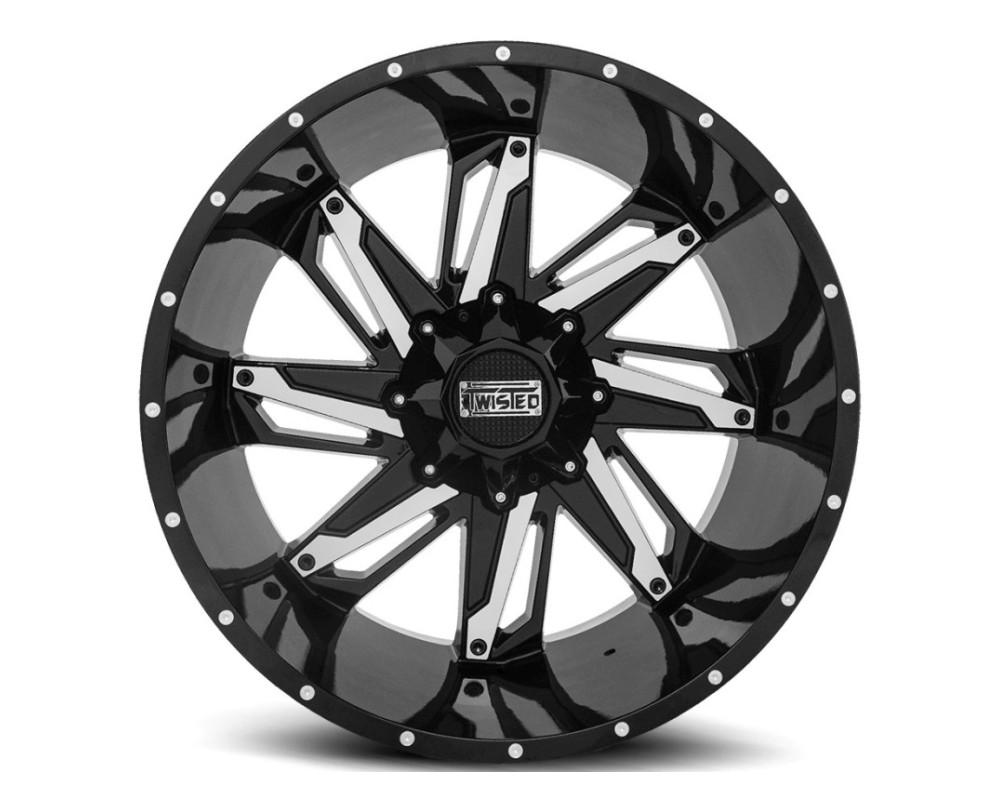 Twisted Off-Road T-22201051143127-12GBM T-22 Razor Wheel 20x10 5x114.3|5x127 -12mm Black Machined