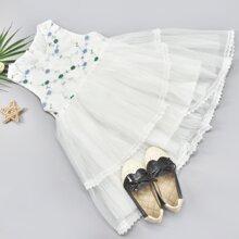 Tutu Kleid mit Blumen Stickereien, Kontrast, Netzstoff und Schleife hinten