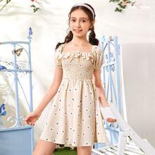 Kleid mit Knoten Detail, Raffung und Blumen Muster