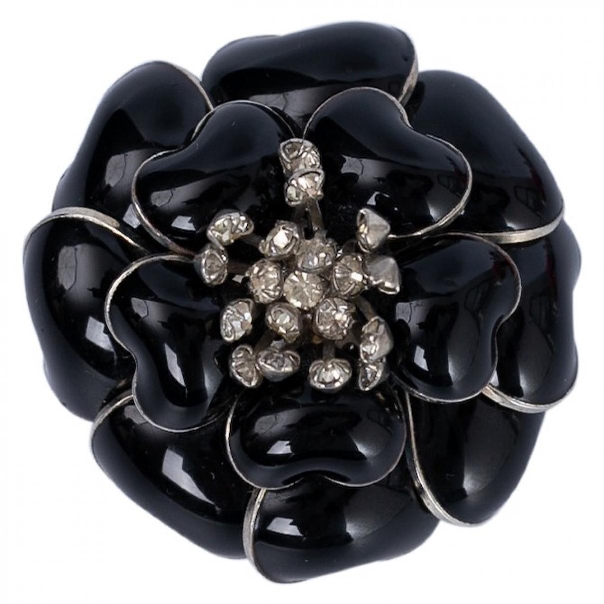 - Broche Motifs Floraux pour femme en verre - noir