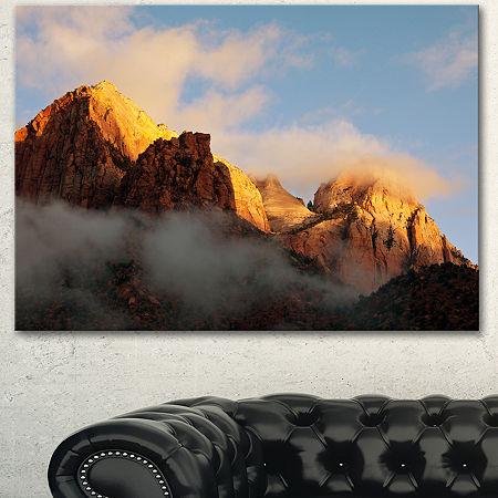Designart Foggy Hills In Zion National Park Oversized Landscape Canvas Art, One Size , Blue