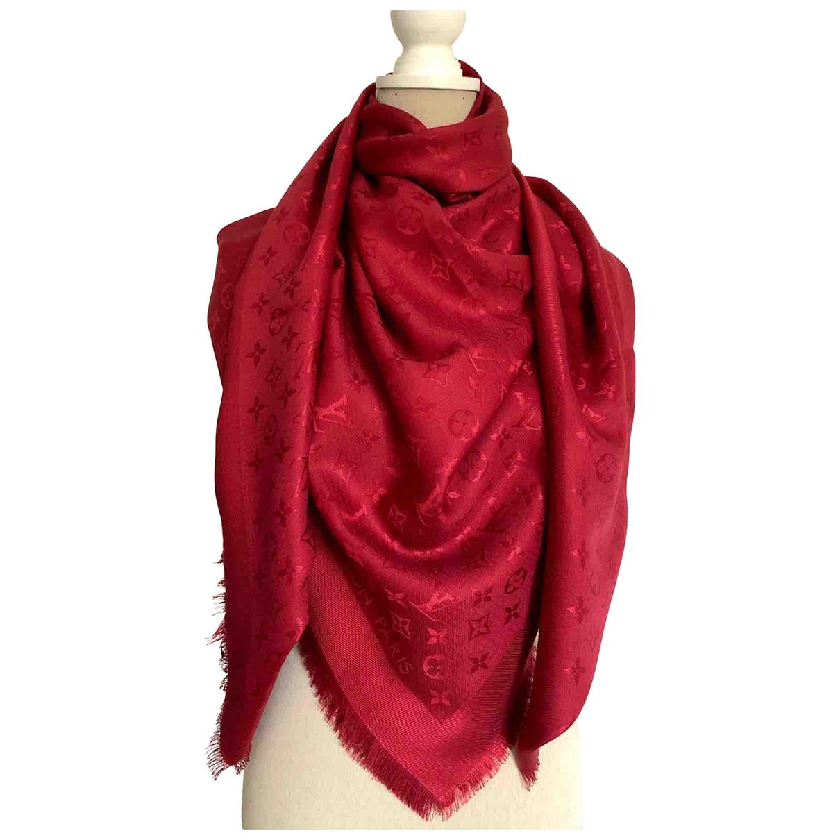 Louis Vuitton - Foulard Chale Monogram pour femme en soie - rouge