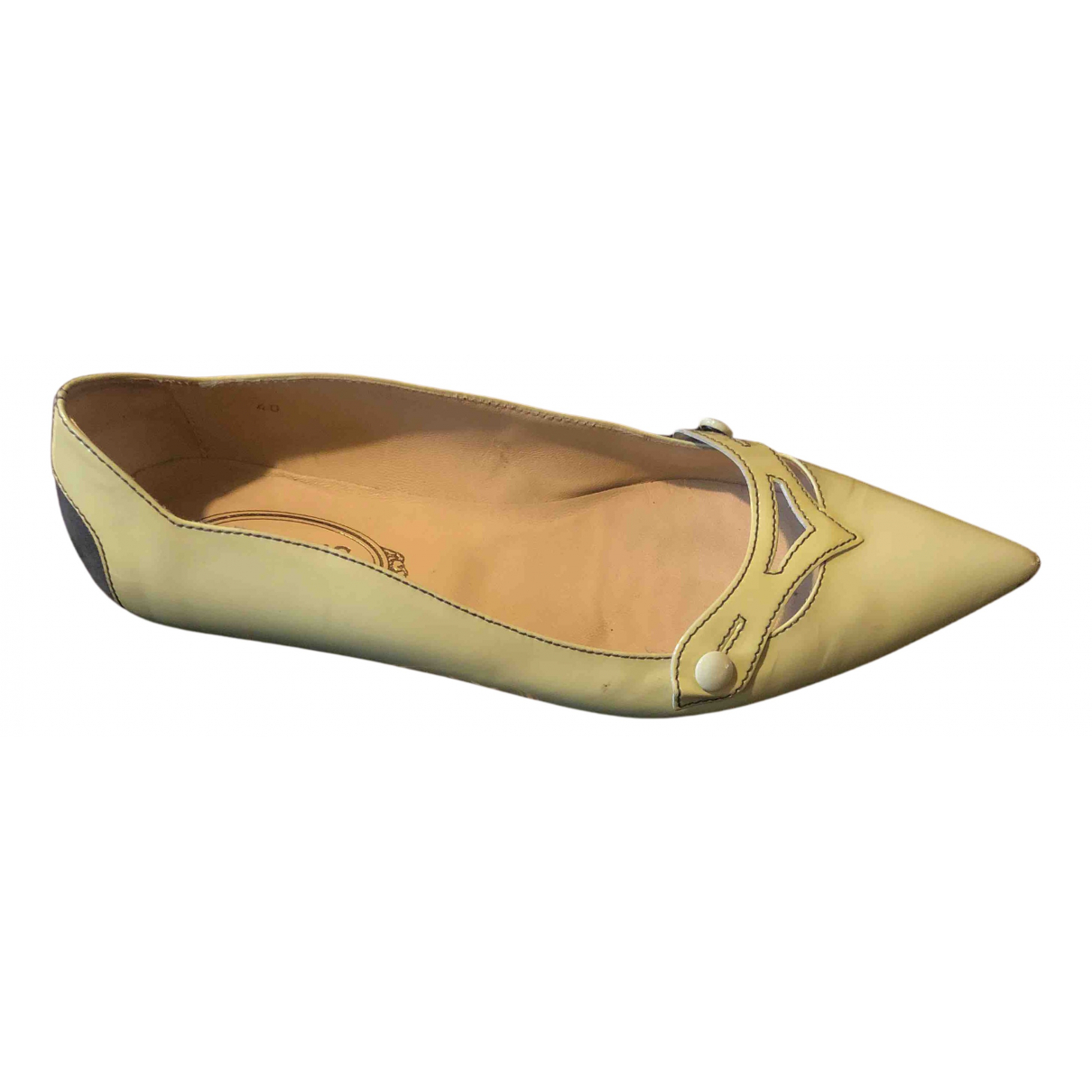 Tods - Ballerines   pour femme en cuir verni - beige