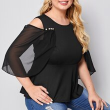 Blusas Extra Grandes Cut-out Liso Casual