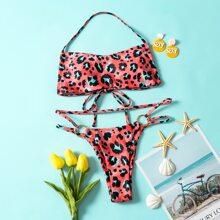 Bikini Badeanzug mit ueberallem Grafik, Kreis Bindung und Neckholder