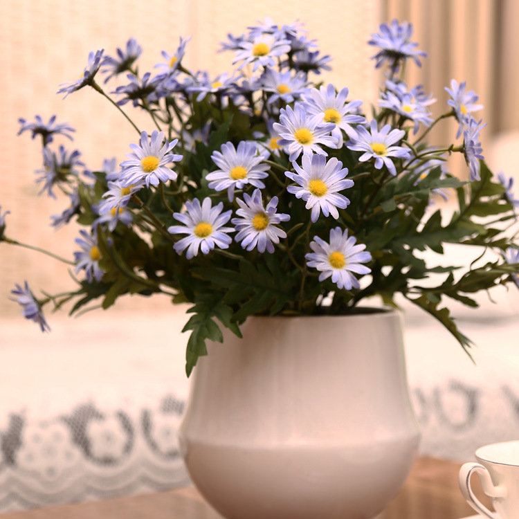 10PCS/ Artificial 9 Heads Korean Small Daisy Flowers Home Furnishing Garden Style Decorations