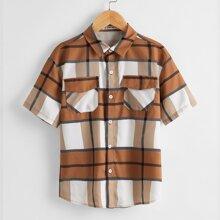 Camisa de niños de cuadros con bolsillo con solapa