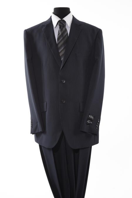 Mens Black 2 Piece 2 Button Suit