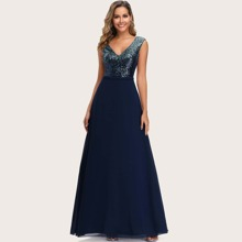 Double V Neck Sequin Bodice Prom Dress