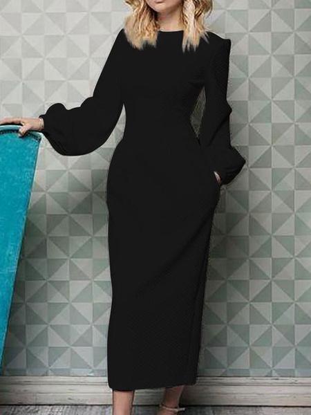Milanoo Bodycon Dresses Black Jewel Neck Oversized Casual Long Sleeves Pencil Dress