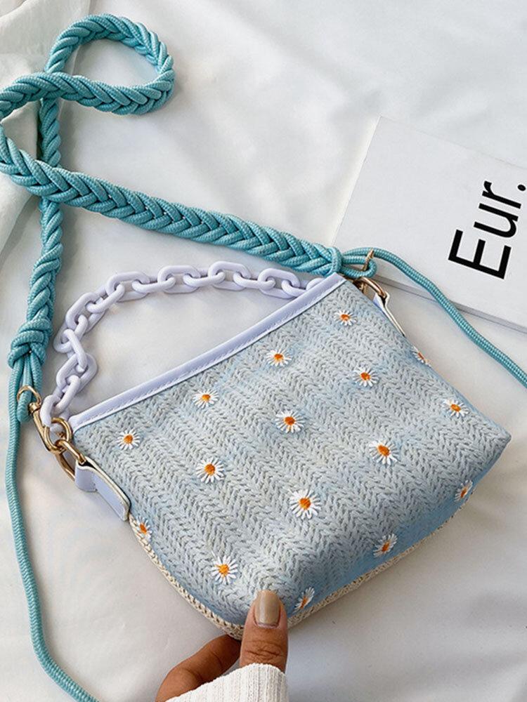 Women Travel Straw Daisy Handbag Crossbody Bag