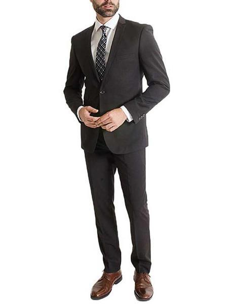 Men's Black 2 Piece One Button Poly Rayon Notch Lapel Slim Fit Suit