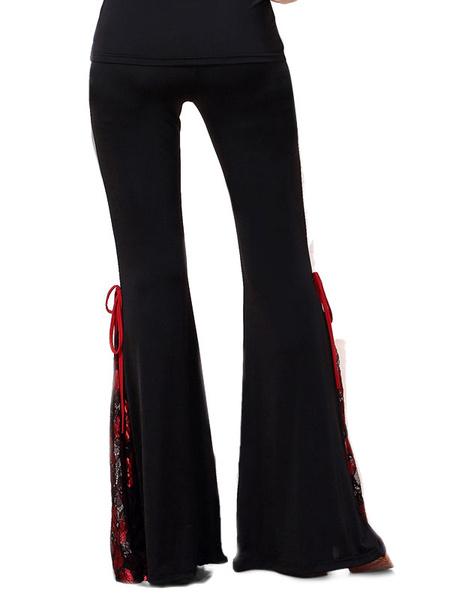 Milanoo Dance Costumes Latin Dancer Black Long Lace Up Flared Pants Bottoms For Women Dancing Clothing Hallloween