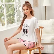 Slogan And Cartoon Panda Print PJ Set