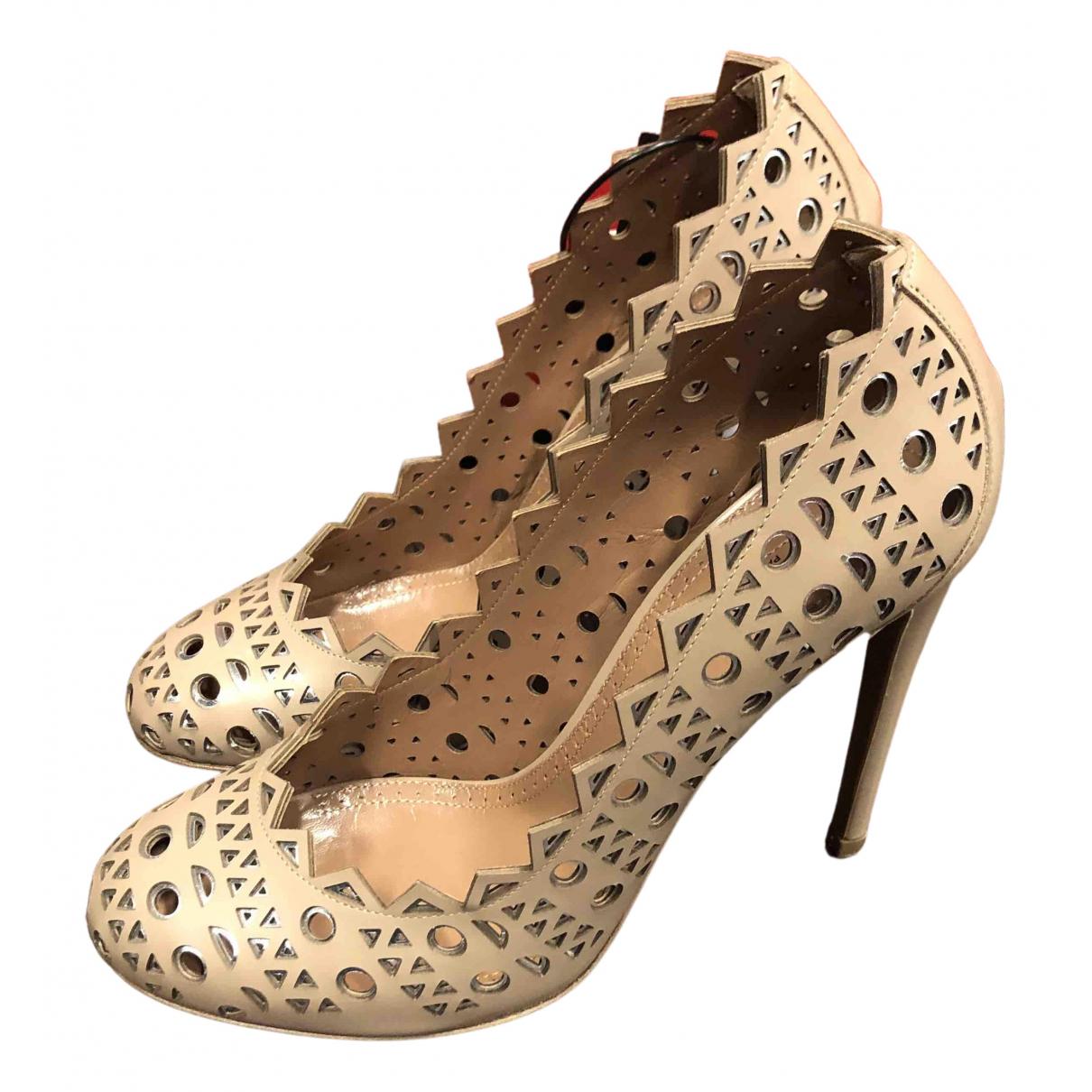 Alaia - Escarpins   pour femme en cuir - beige