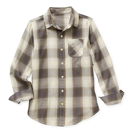 Arizona Little & Big Boys Long Sleeve Button-Down Shirt, Medium (10-12) , Blue