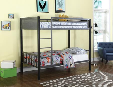 BM182640 Metal Twin-Over-Twin Bunk Bed With Built-In Ladder  Gunmetal Gray &