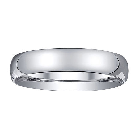 Womens 4mm Silver Domed Wedding Band Ring, 6 1/2 , No Color Family