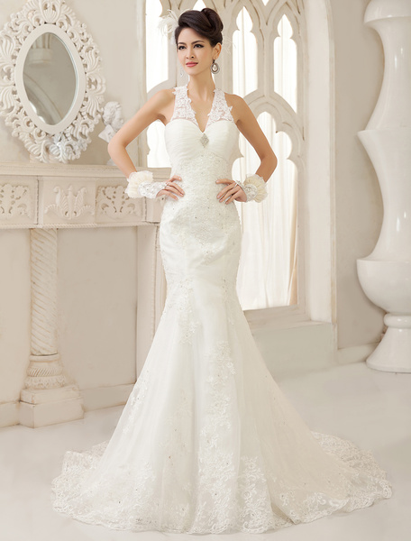 Milanoo White Mermaid V-Neck Ruched Court Train Wedding Dress For Bride