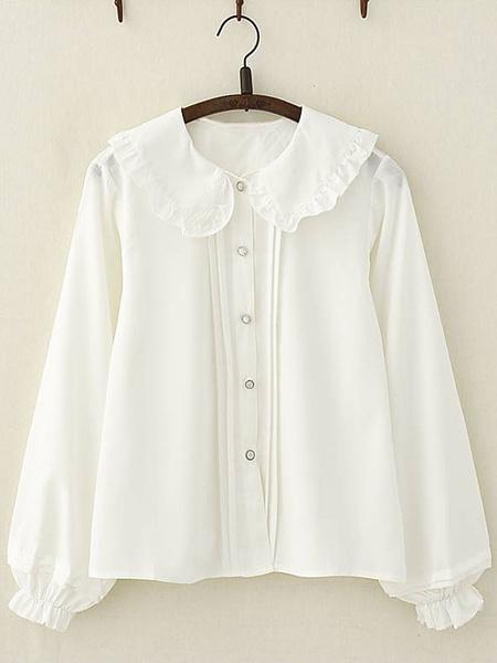 Milanoo Sweet Lolita Blouse Frill Peter Pan Collar Chiffon White Lolita Shirt