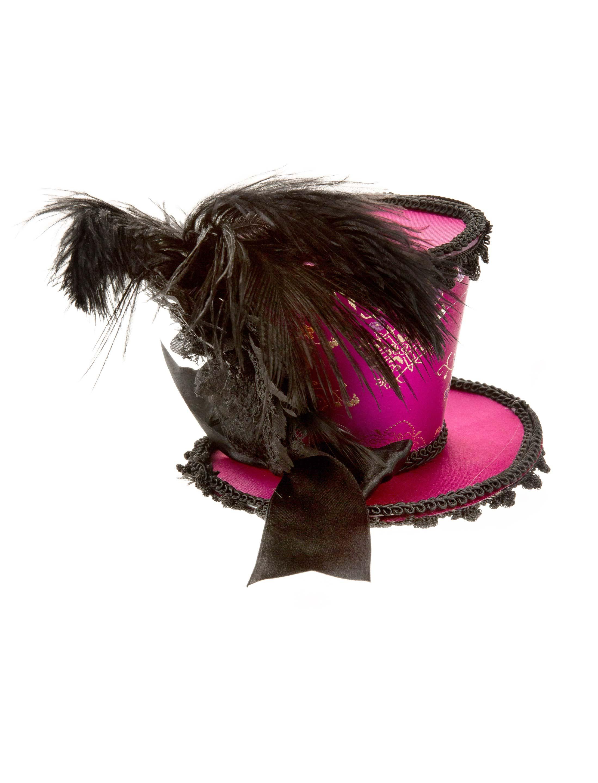 Kostuemzubehor Mini Zylinder Burlesque mit Haarclip pink