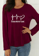 Cross Faith Hope Love Long Sleeve T-Shirt Tee - Burgundy