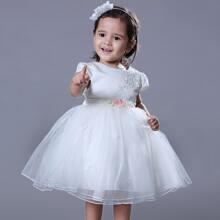 Kleinkind Maedchen Kleid mit Band hinten, Perlen und Applikation