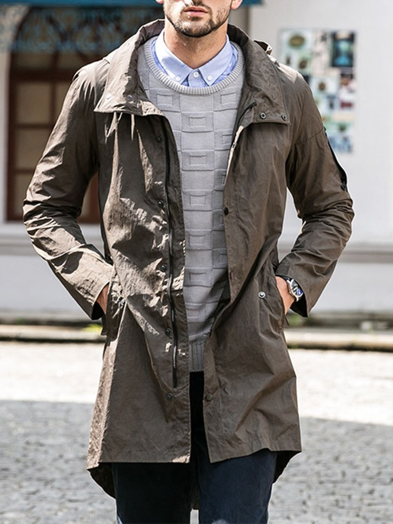 Ericdress Mid-Length Hooded Zipper Single Loose Men's Trench Coat