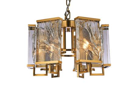 MU74 6-Light Chandelier with Iron and Crystal Materials and 40 Watts in Brass