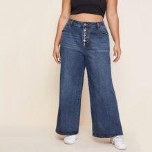 Jeans mit Knopfen vorn und breitem Beinschnitt