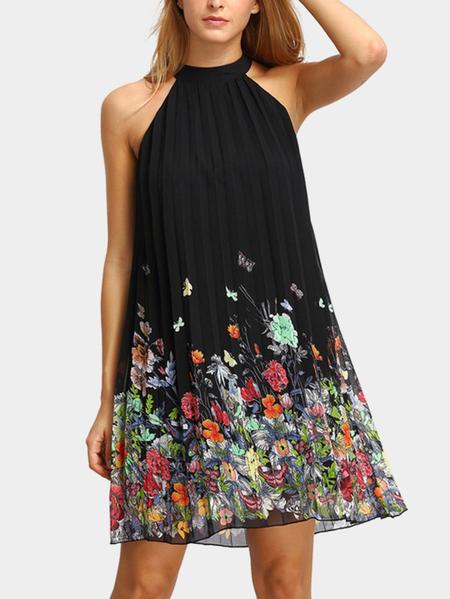 Yoins Black Random Floral Print Halter Pleated Design Dress