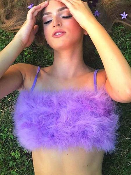 Milanoo Women Crop Top Pink Faux Fur Sleeveless Sexy Tops