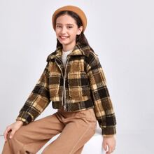 Girls Drop Shoulder Pocket Front Plaid Teddy Jacket