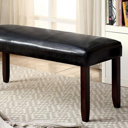 Emmons I CM3984DK-BN Bench with Transitional Style  Padded Leatherette Seat  Solid Wood  Wood Veneer and Others