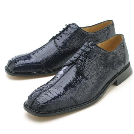 Ostrich Leg/Handmade Shoes with Leather Lining in Navy