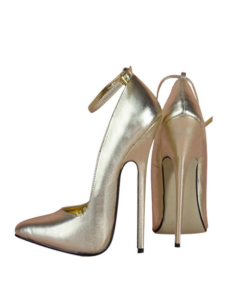 Milanoo White Sexy Shoes Pointed Toe Stiletto Heel Ankle Strap Pumps Women High Heels