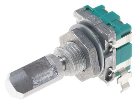 Alps Alpine 15 Pulse Incremental Mechanical Rotary Encoder with a 6 mm Flat Shaft (Not Indexed), Through Hole