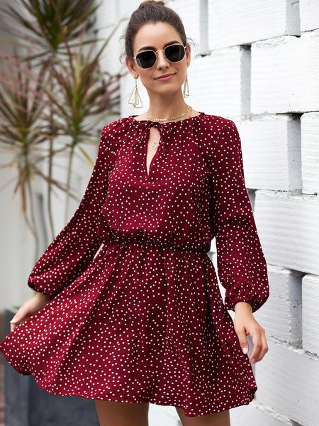 Yoins Red Polka Dot Round Neck Lantern Sleeves Ruched Dress