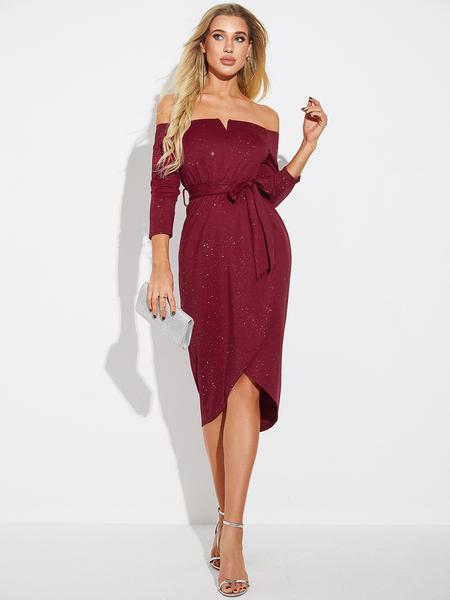 YOINS Burgundy Glitter Belted Wrap Design Off The Shoulder Slit Hem Dress