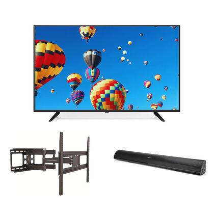 55'' 4K UHD DLED TV + Bluetooth Soundbar + Full Motion TV Mount Combo - PrimeCables®